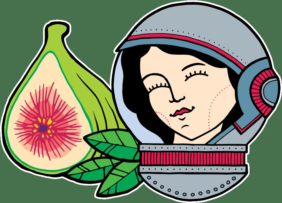 Het geanimeerde logo van Aard'g - het hoofd van een vrouw in een ruimtehelm - met daarachter theebladeren.
