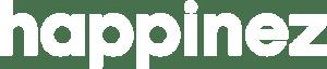 Het logo van Happinez in wit